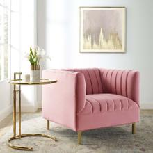 Shift Channel Tufted Performance Velvet Armchair in Dusty Rose