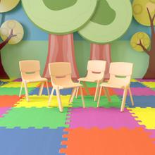 """See Details - 4 Pack Natural Plastic Stackable School Chair with 13.25"""" Seat Height [4-YU-YCX-004-NAT-GG]"""