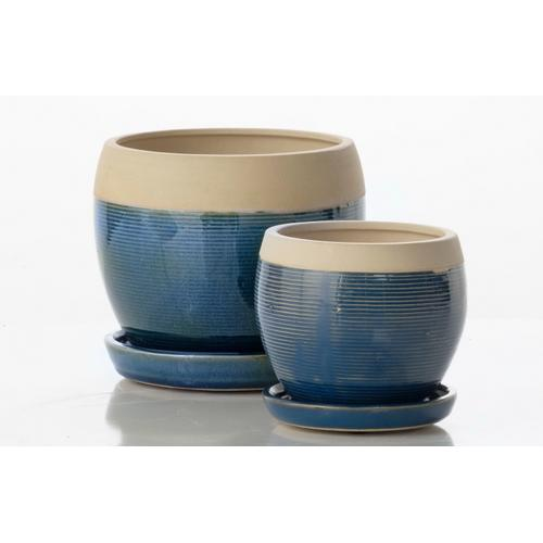 Alfresco Home - Nicola Petits Pots w/ attached saucer - Sand and Blue (set of 2)