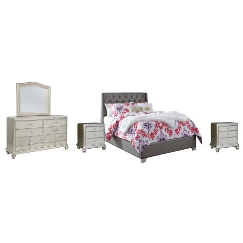 Full Upholstered Bed With Mirrored Dresser and 2 Nightstands