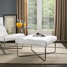 See Details - Reach Upholstered Vinyl Ottoman in White