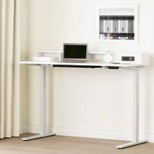 Electric Adjustable Height Standing Desk with Built In Power Bar - Pure White