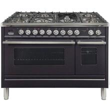 Professional Plus 48 Inch Dual Fuel Liquid Propane Freestanding Range in Matte Graphite with Chrome Trim