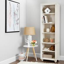 Narrow 6-Shelf Bookcase - White Wash
