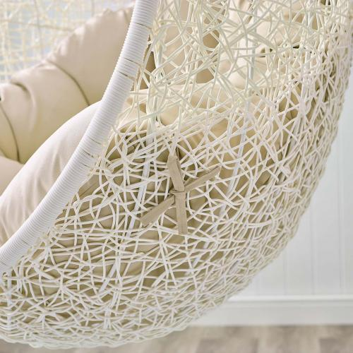 Hide Outdoor Patio Sunbrella® Swing Chair With Stand in White Beige