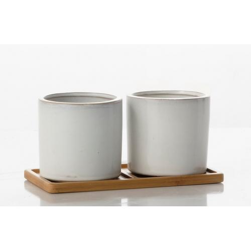 Loft Double Cylinder Petits Pots w/ unattached bamboo saucer - White