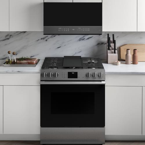 """Cafe Canada - Café ™ 30"""" Slide-In, Front-Control, Gas Range with Convection Modern Glass"""