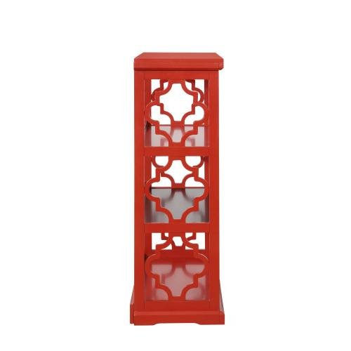 2 Interior Shelves and Open Back Medium Bookcase, Red