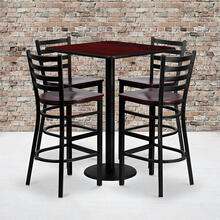 30'' Square Mahogany Laminate Table Set with Ladder Back Metal Barstool and Mahogany Wood Seat, Seats 4