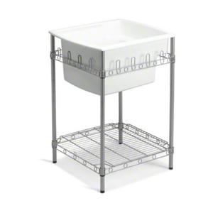 "Latitude® Utility Sink with Stand, 25"" x 22"" x 36"" (Basin Depth is 12"") - White Product Image"