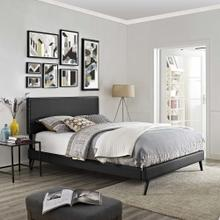 Macie Full Vinyl Platform Bed with Round Splayed Legs in Black