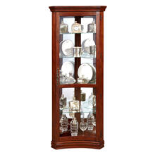 See Details - Concave 4 Shelf Corner Curio Cabinet in Cherry Brown