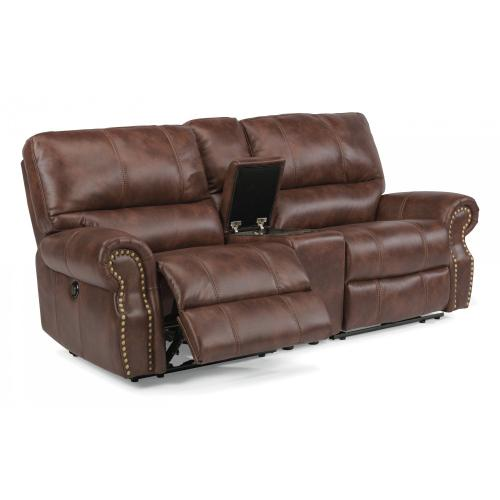Product Image - Carlton Fabric Power Reclining Loveseat with Console