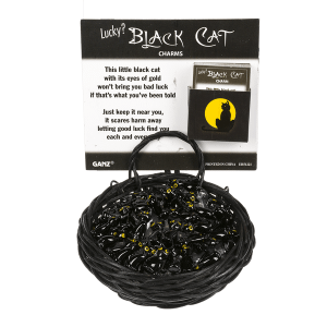 Lucky Black Cats Charms in a Basket (36 pc. ppk.)