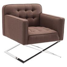 Armen Living Chilton Accent Chair in Brushed Steel finish with Brown Fabric upholstery