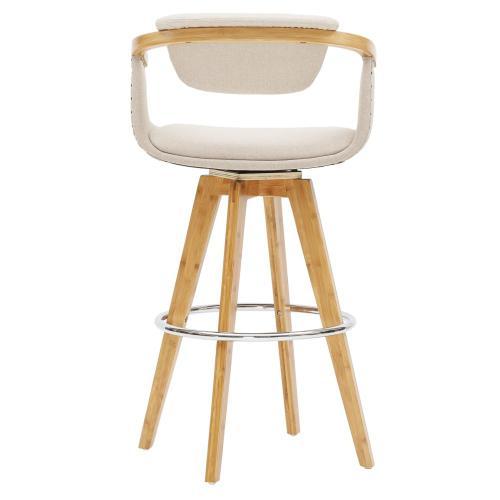 Darwin KD Fabric Bamboo Counter Stool, Stokes Linen/Natural