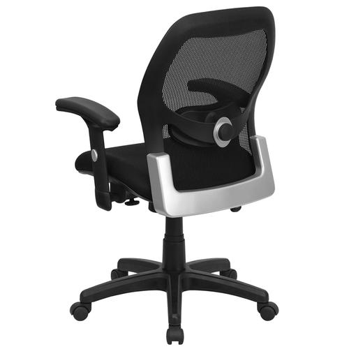 Flash Furniture - Mid-Back Black Super Mesh Executive Swivel Office Chair with Adjustable Lumbar & Arms