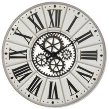 ROMAN MECHANIC  55w X 3ht X 55d  Large Modern Industrial Metal Wall Clock with Open Work Gear Desi