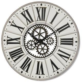 ROMAN MECHANIC  55w X 3ht X 55d  Large Modern Industrial Metal Wall Clock with Open Work Gear Desi