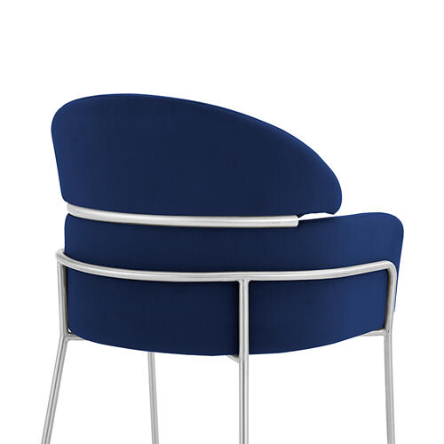 Portia Blue Velvet and Brushed Stainless Steel Dining Room Chairs - Set of 2
