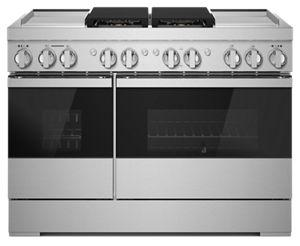 """NOIR™ 48"""" Dual-Fuel Professional Range with Dual Chrome-Infused Griddles"""