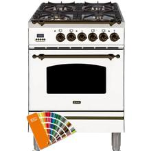 Nostalgie 24 Inch Dual Fuel Natural Gas Freestanding Range in Custom RAL Color with Bronze Trim