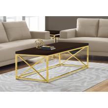 COFFEE TABLE - ESPRESSO WITH GOLD METAL