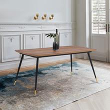 Messina Modern Walnut and Metal Dining Room Table