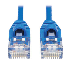 Cat6a 10G Snagless Molded Slim UTP Ethernet Cable (RJ45 M/M), Blue, 15 ft.