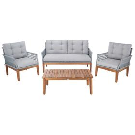Winslo 4pc Living Set - Grey Rope / Grey Cushion / Natural Legs