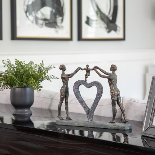 "Sagebrook Home - Polyresin 15"" Family W/ Heart Sculpture, Bronze"