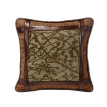 Highland Lodge Framed Tree Pillow W/ Faux Leather, 18x18