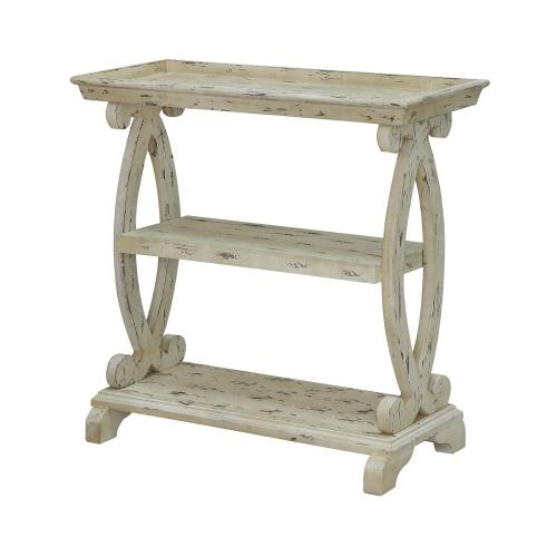 Product Image - Newport Distressed White Shaped Console Table