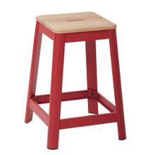 "Hammond 26"" Metal Barstool With Lightwood Seat and Frosted Red Frame Finish"