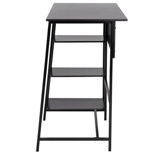 Hayden 3 Shelf Standing Desk - Black / Black
