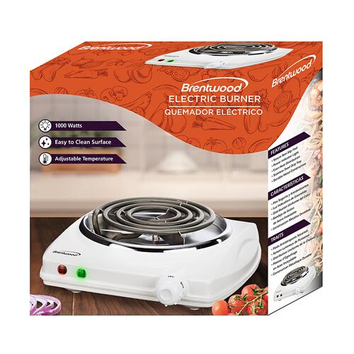Brentwood - Brentwood TS-322 1000w Single Electric Burner, White