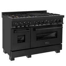 "See Details - ZLINE 48"" Black Stainless 6.0 cu.ft. 7 Gas Burner/Electric Oven Range (RAB-BR-48) [Color: Black Stainless Steel with Brass Burners]"