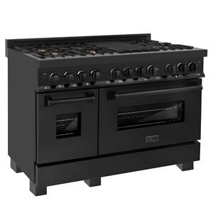 "Zline KitchenZLINE 48"" Black Stainless 6.0 cu.ft. 7 Gas Burner/Electric Oven Range (RAB-BR-48) [Color: Black Stainless Steel with Brass Burners]"