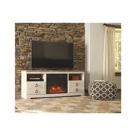 See Details - Willowton LG TV Stand W/Fireplace Insert Whitewash