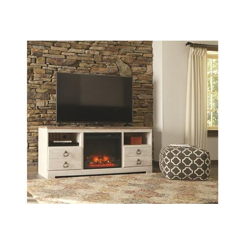 Willowton Whitewash Large Fireplace TV Stand