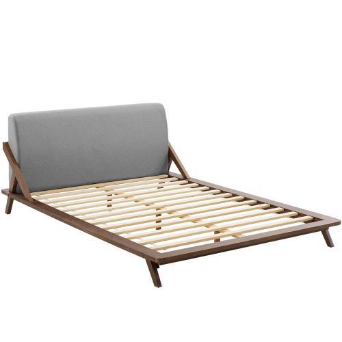 Luella Queen Upholstered Fabric Platform Bed in Walnut Light Gray