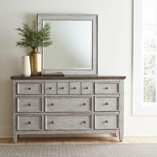 King Opt Panel Bed, Dresser & Mirror, Night Stand