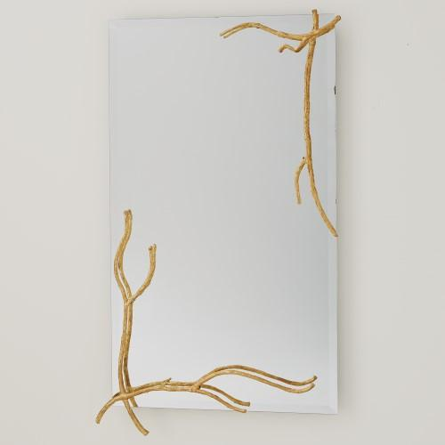 Twig Mirror-Gold Leaf-Lg