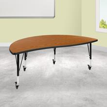"Mobile 60"" Half Circle Wave Collaborative Oak Thermal Laminate Activity Table - Height Adjustable Short Legs"
