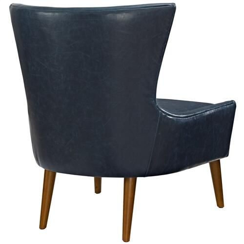 Keen Upholstered Vinyl Armchair in Blue