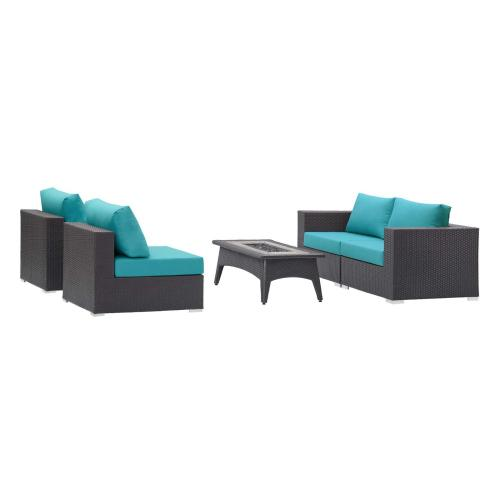 Convene 5 Piece Set Outdoor Patio with Fire Pit in Espresso Turquoise