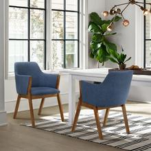 View Product - Renzo Blue Fabric and Walnut Wood Dining Side Chairs - Set of 2