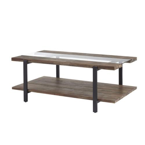 Standard Furniture - Dumont Cocktail Table, Brown Mahogany Finish with Black Metal Base