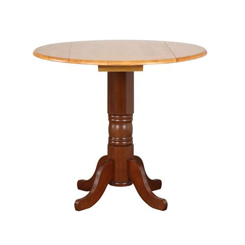 Round Drop Leaf Pub Table - Nutmeg with Light Oak Finish