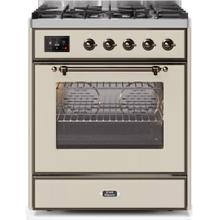 Majestic II 30 Inch Dual Fuel Liquid Propane Freestanding Range in Antique White with Bronze Trim